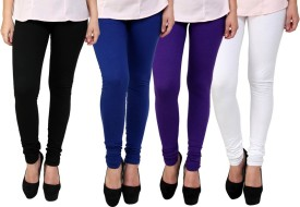 Dharamanjali Women's Black, Blue, Purple, White Leggings Pack Of 4