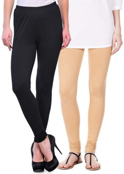 Sampoorna Collection Women's Black, Beige Leggings Pack Of 2