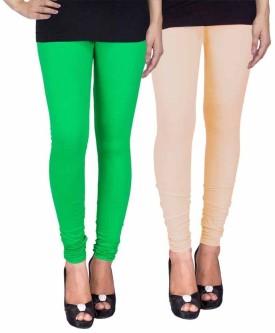 Fashion Flow+ Women's Green, Beige Leggings Pack Of 2