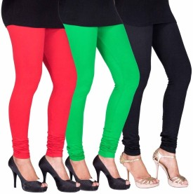 C&S Shopping Gallery Women's Red, Green, Black Leggings Pack Of 3