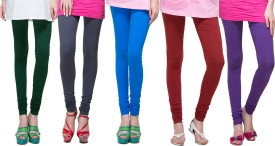 FR Women's Dark Green, Grey, Light Blue, Maroon, Purple Leggings Pack Of 5