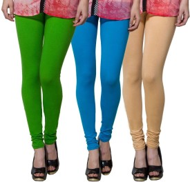 Both11 Women's Green, Light Blue, Beige Leggings Pack Of 3