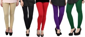 Elevate Women Women's Beige, Black, Red, Purple, Green Leggings Pack Of 5