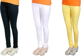 Radhika Garments Women's Black, White, Yellow Leggings Pack Of 3
