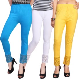 Comix Women's Light Blue, White, Yellow Leggings Pack Of 3
