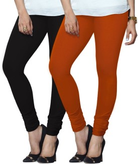 Lux Lyra Women's Black, Orange Leggings Pack Of 2