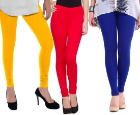 Sampoorna Collection Women's Blue, Red, Yellow Leggings Pack Of 3