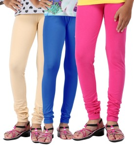 Greenwich Baby Girl's Beige, Blue, Pink Leggings Pack Of 3