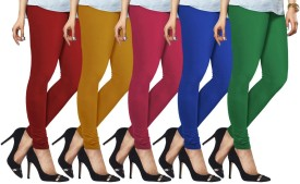 Lux Lyra Women's Red, Yellow, Pink, Light Blue, Dark Green Leggings Pack Of 5
