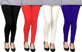 PAMO Women's Black, Multicolor Leggings Pack Of 4
