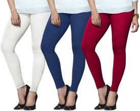 Lux Lyra Women's White, Light Blue, Pink Leggings Pack Of 3