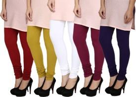 Fizzaro Women's Red, Green, White, Blue, Purple Leggings Pack Of 5