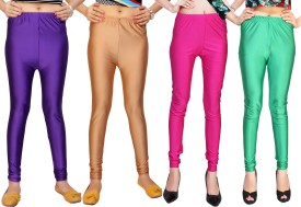 Comix Women's Purple, Beige, Pink, Green Leggings Pack Of 4