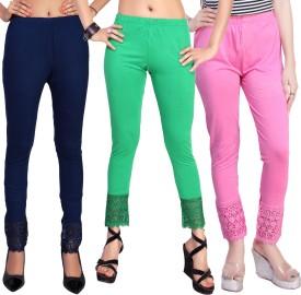 Comix Women's Dark Blue, Light Green, Pink Leggings Pack Of 3