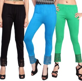 Comix Women's Black, Light Blue, Light Green Leggings Pack Of 3