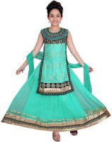 Wajbee Embellished Girl's Ghagra, Choli, Dupatta Set
