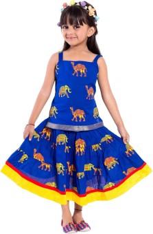 Magnus Animal Print Girl's Ghagra Choli Stitched