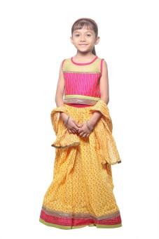 Stop To Start Embellished Girl's Ghagra, Choli, Dupatta Set