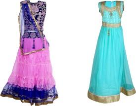 Crazeis Self Design Girl's Lehenga, Choli and Dupatta Set