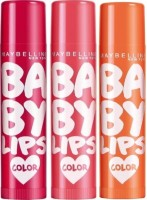 Maybelline Baby Lips - Pack Of 3 Cerry Kiss, Pink, Coral Flush (4 G)