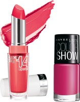 Maybelline Super Stay 14 Hr Lipstick With Hooked On Pink Nail Enamel 3.3 G (Me Coral - 430)