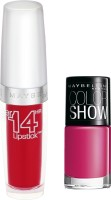 Maybelline Super Stay 14 Hr Lipstick With Hooked On Pink Nail Enamel 3.3 G (Non Stop Red - 510)
