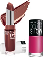 Maybelline Super Stay 14 Hr Lipstick With Hooked On Pink Nail Enamel 3.3 G (Endless Raisin - 090)
