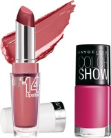 Maybelline Super Stay 14 Hr Lipstick With Hooked On Pink Nail Enamel 3.3 G (Keep Me Coral - 055)
