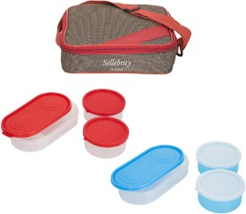 Sellebrity Combo Metro Red Brown 6 Containers Lunch Box