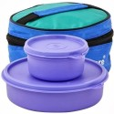 Tupperware Classic Lunch Box With Bag Virgin Plastic Lunch Boxes - Set Of 3, Blue, Green, Black
