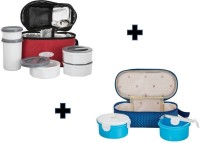 Top Ware Bestway New Couple Combo Of Lunch Boxes With Spoon And Containers 6 Containers Lunch Box (1500 Ml)