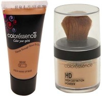 Coloressence Aqua Makeup Base Foundation (Beige Lf-1) And High Definition Face Powder (Beige Fp - 1) (Pack Of 2)