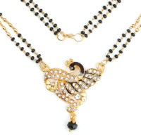 Johareez 10.17 Grams Black Stone & White Cubic Zirconia Green & Maroon Enamel Gold Plated Brass Peacock Shape Mangalsutra Brass Mangalsutra