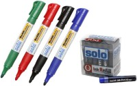 Solo Bullet Tip Liquid Ink Technology White Board Marker (Set Of 5, Assorted)