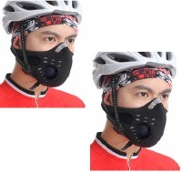 Sangaitap Combo Offer Of 2 Pes Face Nose Ear Neck Bike Motorcycle Riders Dust/Sun/Heat/Cold Protection Anti-pollution Mask (Black, Pack Of 1)