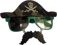 Funcart Pirate Hat With Moustache Sunglasses Party Mask (Black, Pack Of 1)