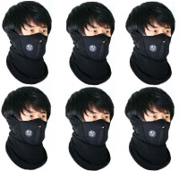 Sangaitap 6 Pieces Face Nose Ear Neck Ski Snowboard Bike Motorcycle Riders Warm Dust Free Breathable Anti-pollution Mask (Black, Pack Of 6)