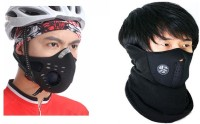 Sangaitap Special Combo Offer Of 2 Pcs Face Nose Ear Neck Bike Motorcycle Riders Dust/Sun/Heat/Cold Protection Anti-pollution Mask (Black, Pack Of 2)