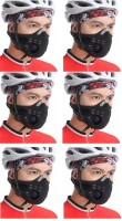 Sangaitap Combo Offer Of 6 Pes Face Nose Ear Neck Bike Motorcycle Riders Dust/Sun/Heat/Cold Protection Anti-pollution Mask (Black, Pack Of 6)