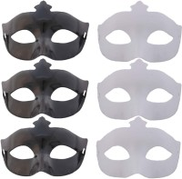 Tootpado Set Of 6 Carnival Eye Masks For Halloween, Theme And Masquerade Parties (Black & White) Party Mask (Multicolor, Pack Of 6)