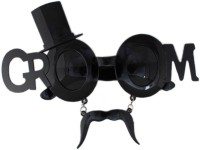 Tootpado Groom Goggles With Hat And Moustache - Accessories For Theme Parties & Celebrations Party Mask (Black, Pack Of 1)