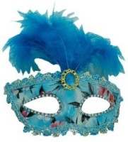 Smartcraft Stone Studded Feather Eye -Blue Party Mask (Multicolor, Pack Of 1)