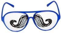 Funcart Moustache Pinhole Glasses Party Mask (Blue, Pack Of 1)