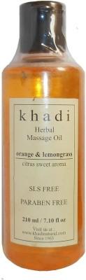 Khadi Herbal Orange & Lemongrass Massage Oil (Citrus Sweet Aroma) - SLS & Paraben Free - 210 Ml