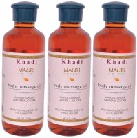 Khadi Mauri Premium Body Massage Oil - Pack Of 3 - Premium Herbal (630 Ml)