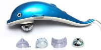 Ample Wings Amazing Multi-Function Dolphin Design Hand Held Vibration, Tapping Pro, Magnetic, Far Infrared Therapy To Aid In Pain And Stress Relief Massager (Blue)
