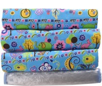 Baby Bucket PVC, Cotton Free Sleeping Mat Multi Purpose Baby Mat Jungle Print Set Of 3 + 1 (Blue)
