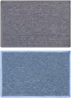 Status Nylon Medium Door Mat Solid_grey_skyblue_2pcs (Grey, 2 Mat)
