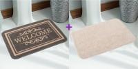 Saral Home Polyester Medium Bath Mat Black, 1 Jute Mat, 1 Floor Mat