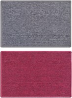 Status Nylon Medium Floor Mat Solid_grey_red_2pcs (Grey, 2 Mat)